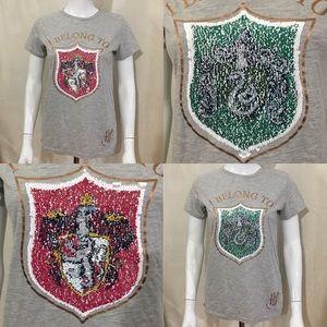 Harry Potter Swipe Sequin Tee Gryffindor Slytherin